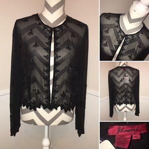 J LAXMI | Hans made sheer beaded evening jacketNWT, used for sale
